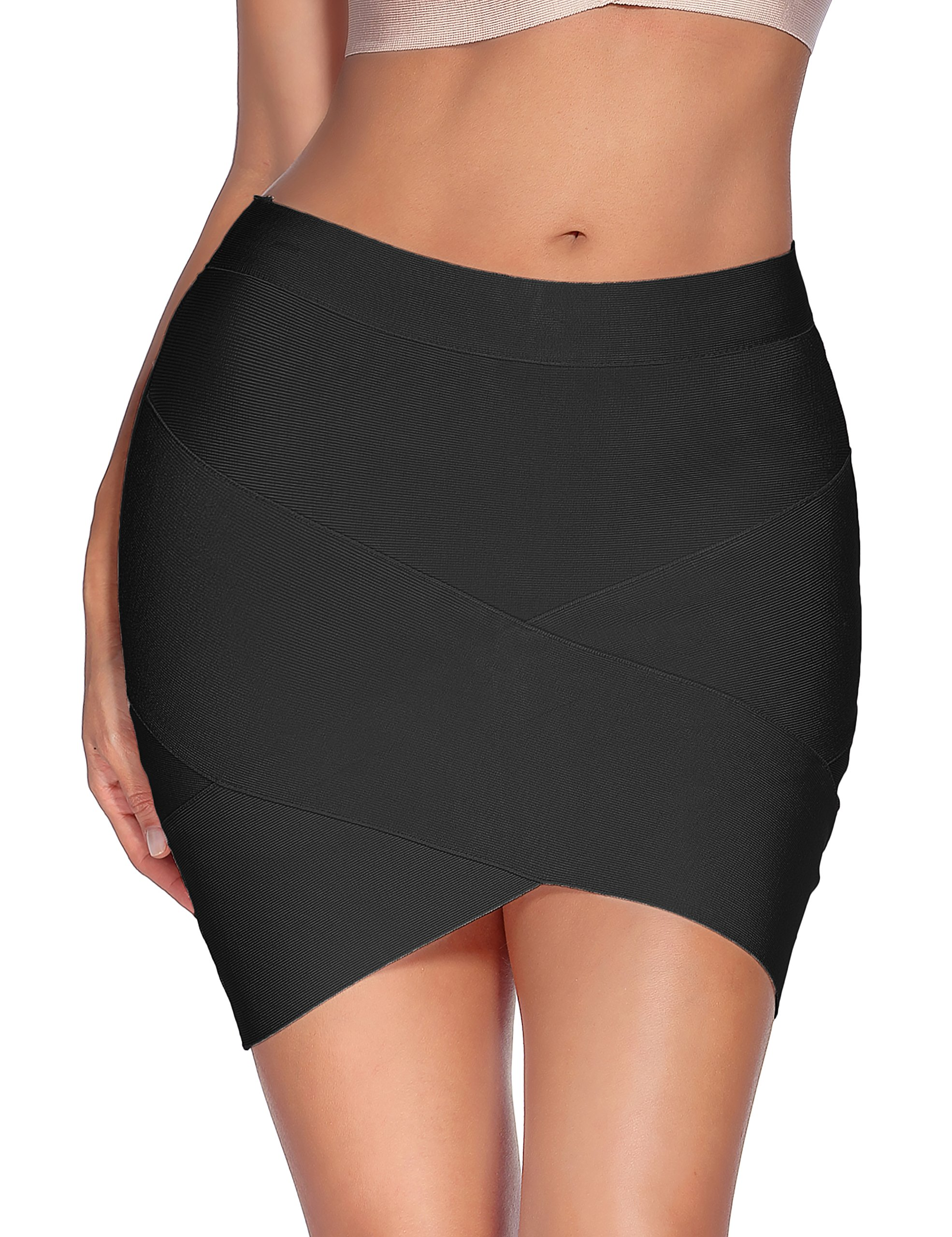 Meilun Women's Rayon Bandage Bodycon Mini Skirt (Medium, Black)