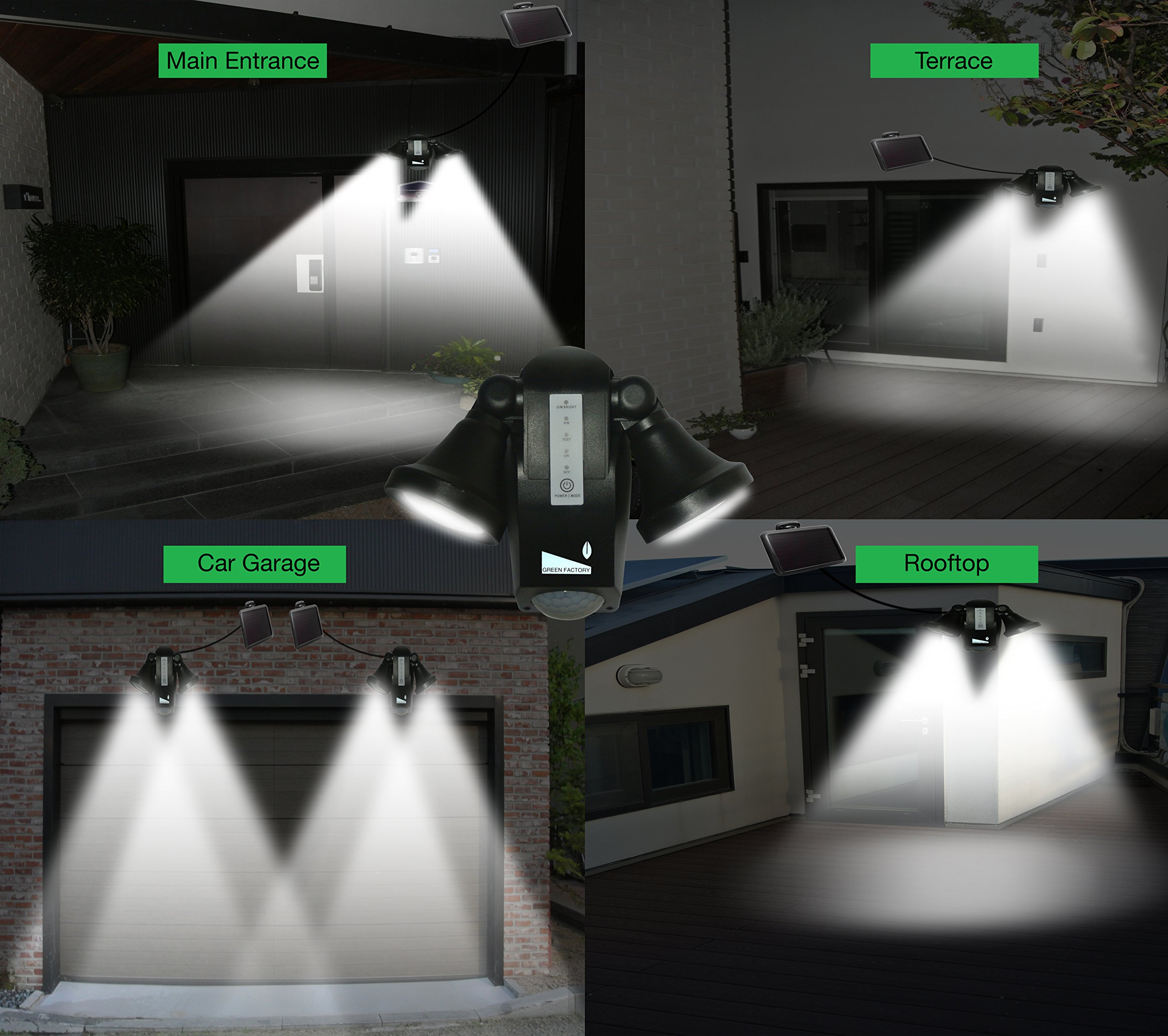 GREEN FACTORY 2017 New Solar Security Motion Sensor Lights 18SMD LED Outdoor Weatherproof Wall Lights With 5 Modes By Finger Touch Control For Rooftop Deck Terrace Main Entrance Garage by GREEN FACTORY
