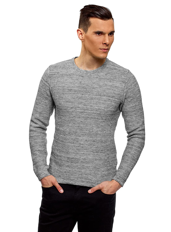 oodji Ultra Hombre Jersey Texturizado con Cuello Redondo