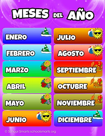 Amazon Com Spanish Months Of The Year Chart By School Smarts Fully Laminated Durable Material Rolled And Sealed In Plastic Poster Sleeve For Protection