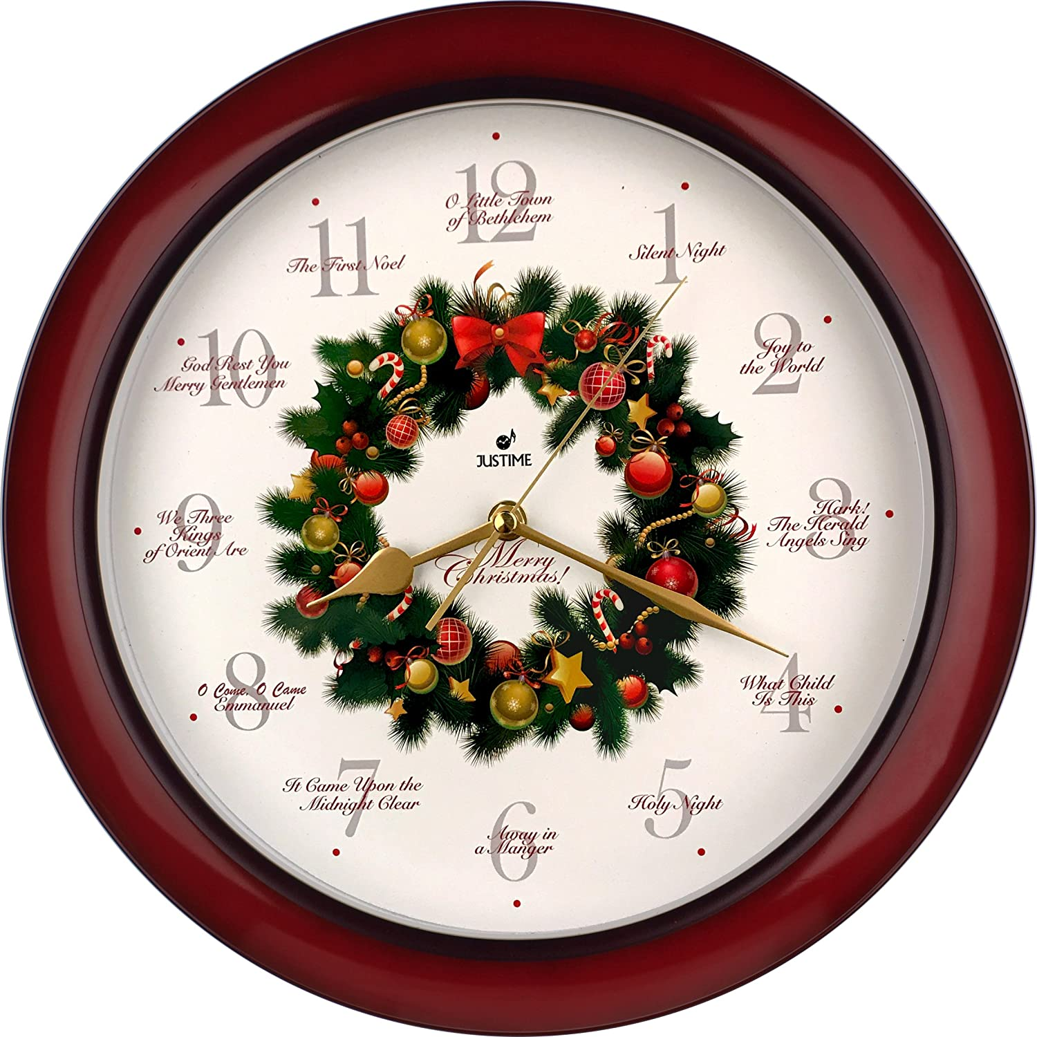 Amazon elegant 14 inch 12 song of carols of christmas wreath amazon elegant 14 inch 12 song of carols of christmas wreath melody wall clock sweep silent quartz home wall deco clock wr red home kitchen amipublicfo Images