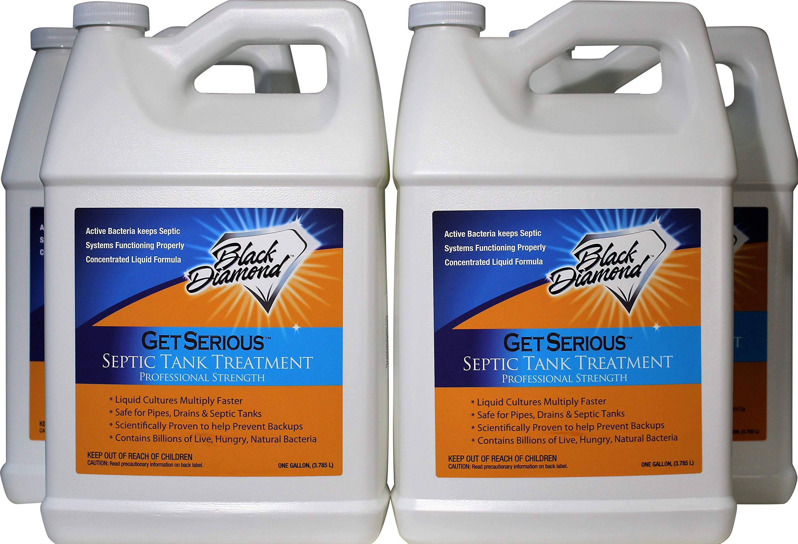Black Diamond Stoneworks GET SERIOUS Septic Tank Treatment Liquid Natural Enzymes for Residential, Commercial, Industrial, RV's Systems. (4, Gallon)