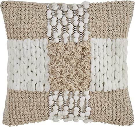 Saro Lifestyle Graham Collection Cross Design Moroccan Throw Pillow With Down Filling 18 Natural Home Kitchen