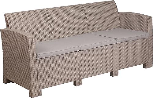 Flash Furniture Light Gray Faux Rattan Sofa
