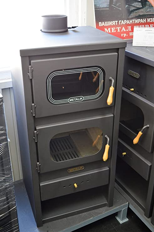 Estufa de leña de Metalic con horno quemador de leña, chimenea