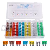 DEDC Blade Fuse Set 120 Pieces Car Truck Boat Standard Blade Fuse Assortment Kit 5 7.5 10 15 20 25 30 AMP Essential Replacement