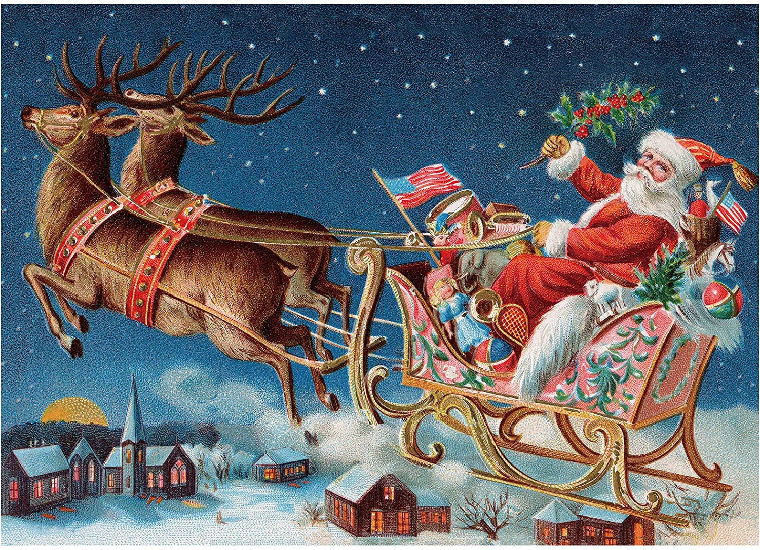 Premium Recyclable Materials Family Jigsaw Puzzle /& Fact Poster 27.5 x 19.7 in Santa Christmas Puzzle Christmas Puzzles for Adults 1000 Piece Snow Happy Holiday Puzzle Skill Level: Difficult