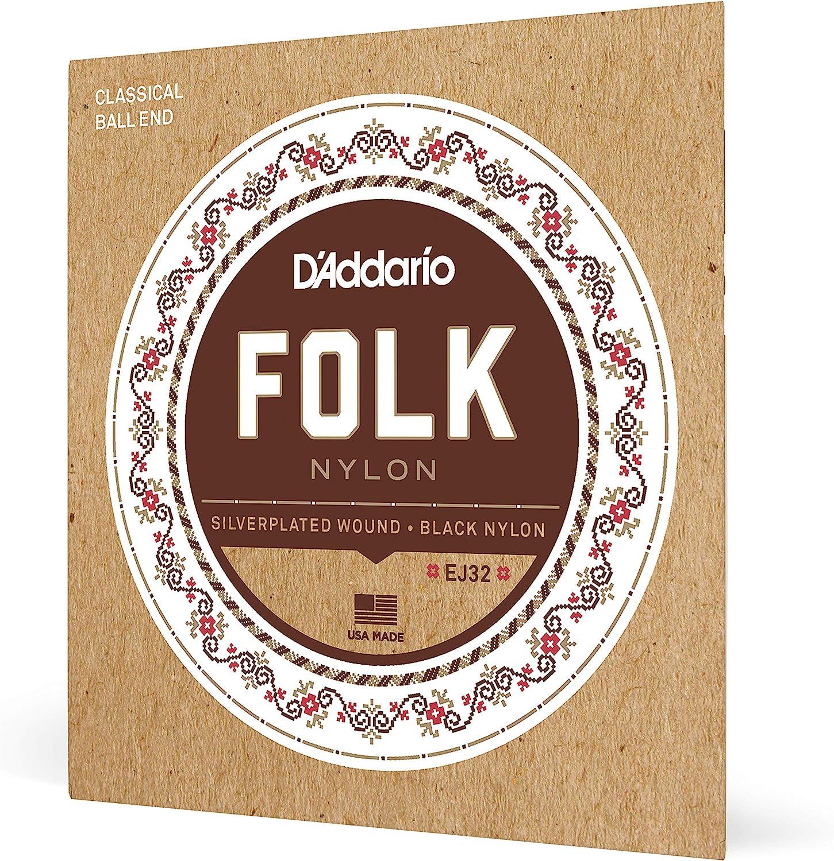 D'Addario EJ32 Folk Nylon, cuerdas para guitarra con extremo de bola, agudos de nailon negro/entorchado en plata