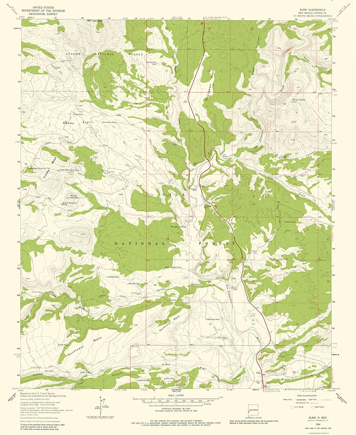 Amazon.com: MAPS OF THE PAST Topographic Map - Alma Mexico ...
