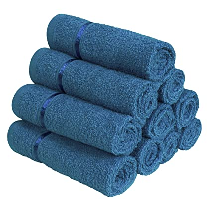 a6417b9f942 Story Home Pack of 10 Navy Blue Sensational 100% Cotton Thick Large Towel  Soft Face Towels with Stripe  Amazon.in  Home   Kitchen