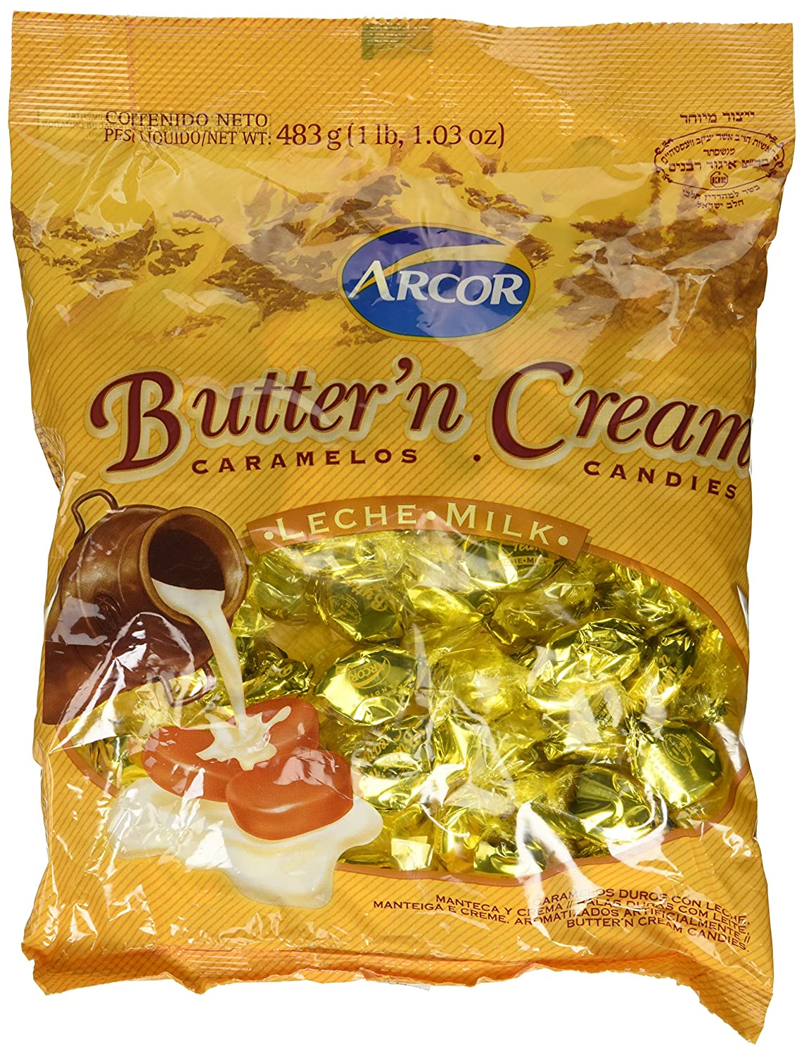 Amazon.com : Arcor Butter N Cream Milk Flavored Kosher Candy 1 lb and 1.03 oz (Pack of 2) : Hard Candy : Grocery & Gourmet Food