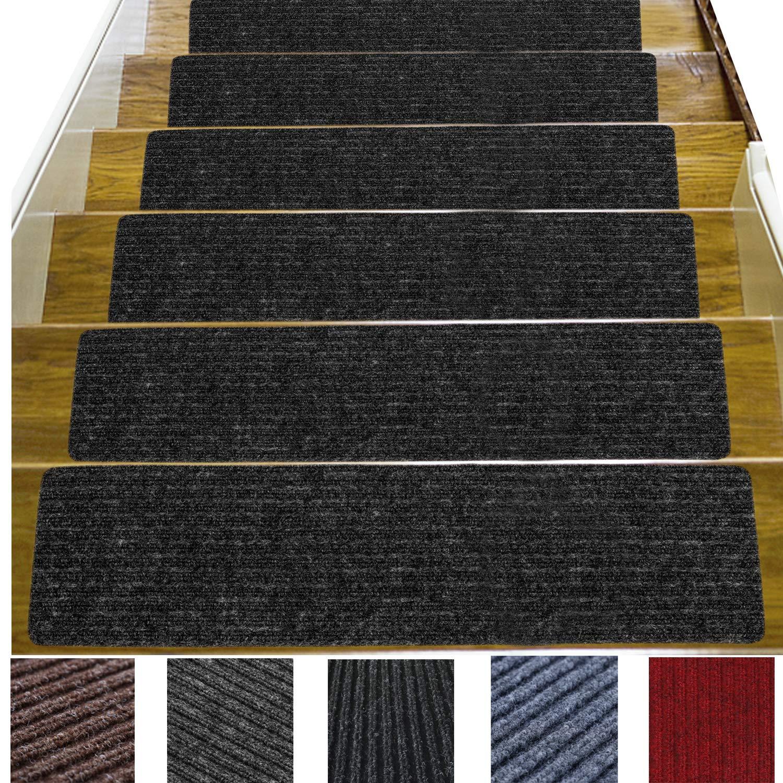 14 Pack-(8''x 30''), Non-Slip Stair Treads Carpet Indoor, Anti Slip Stair Mats, Skid Resistant Rubber Backing for Child Proofing/Pet Safety/Elderly Safety, Dark Gray by Jorviz
