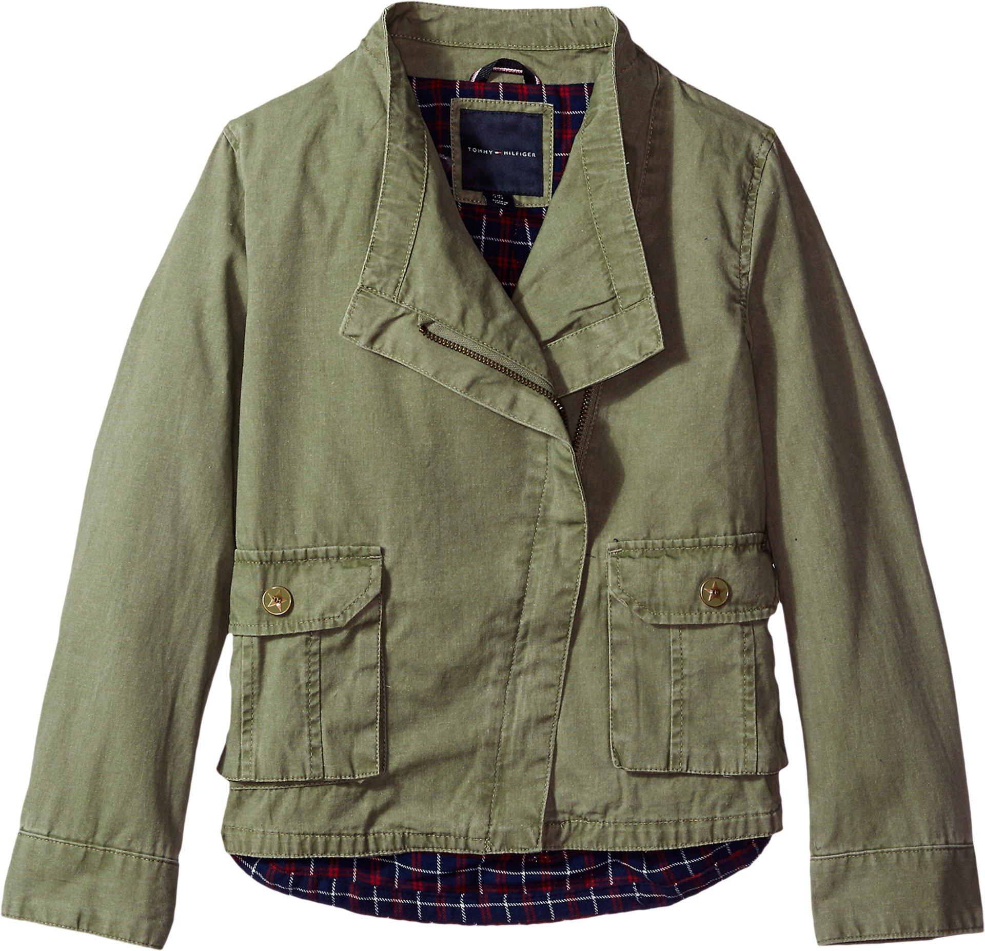 Tommy Hilfiger Big Girls' Cargo and Plaid Jacket, Sagier Green, Medium