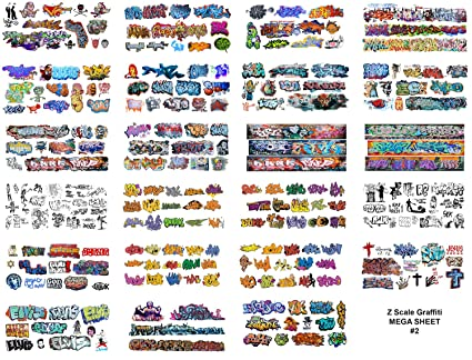 Amazon com: Z Scale Custom Graffiti Decals 8 5 x 11 MEGA