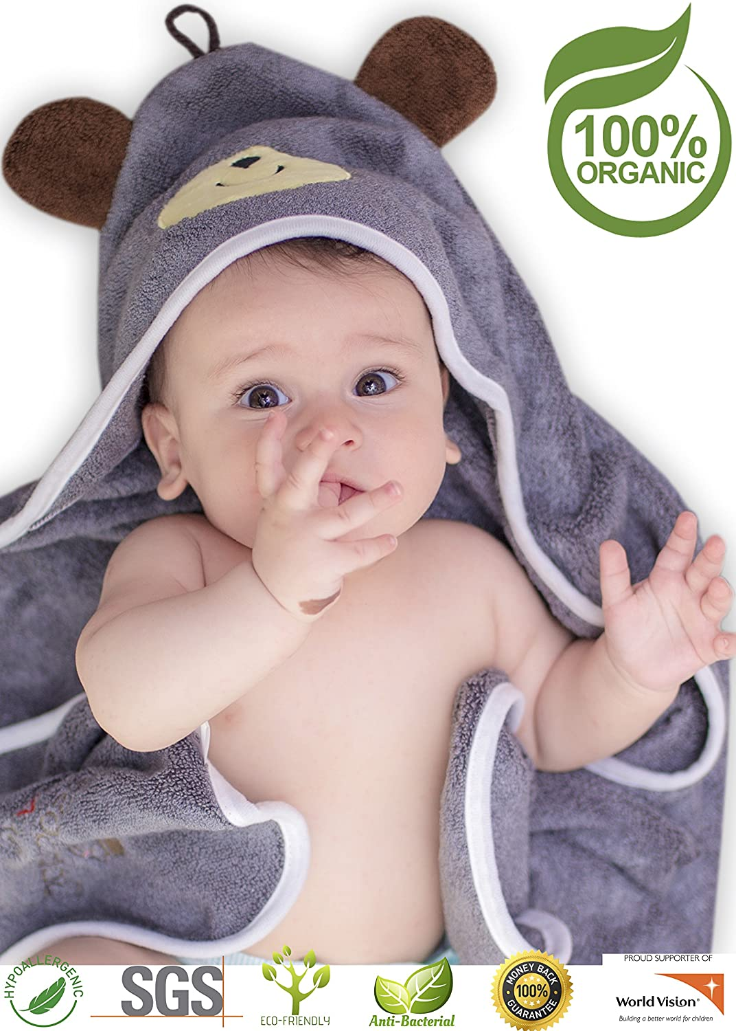 Premium Hooded Baby Towel, 100% Organic Bamboo, Free Baby Bib, Perfect Baby Shower Gift, 35x35 for Newborns Infants Toddlers & Kids, for Boys and Girls at Bath Pool & Beach, Better Than Cotton (Gray) Artyish