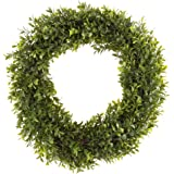 Round Wreath, Artificial Wreath for the Front Door by Pure Garden, Home Décor, UV Resistant, Hedyotis – 15 Inches