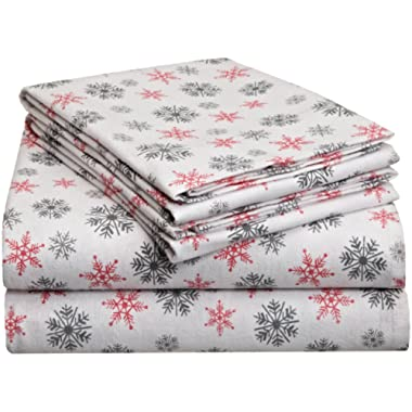 Pointehaven Heavy Weight Printed Flannel Sheet Set, King, Snow Flakes White
