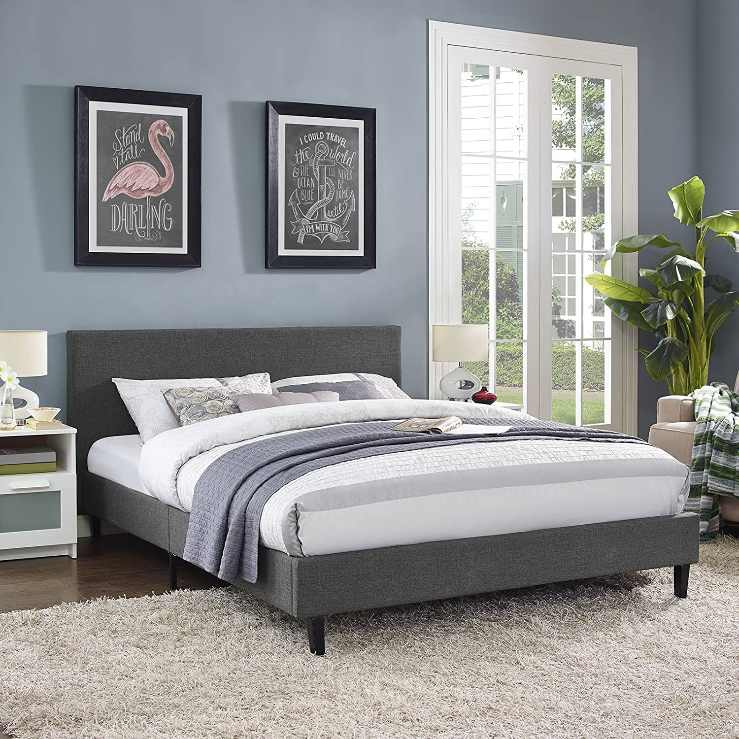 amazoncom modway mod5420gry anya bed frame queen gray kitchen u0026 dining