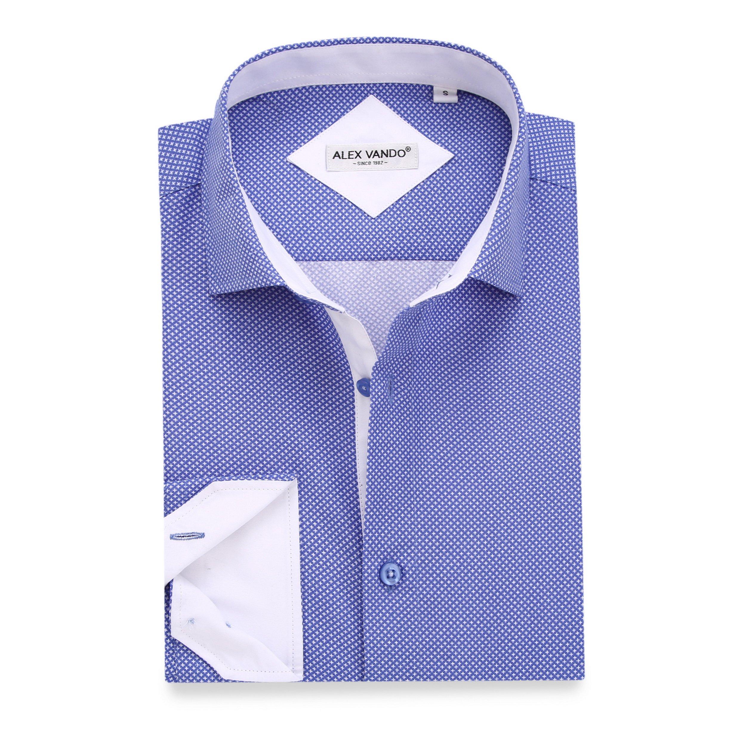Alex Vando Mens Casual Button Down Shirts Long Sleeve Print Men Shirt(Blue,X Large)