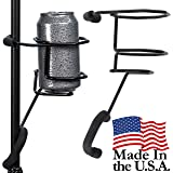 Mic Stand Drink Holder - Microphone & Cymbal Pole Stagehand Music Mount for Soft Beverages Soda Can Coffee or Tea Cup and Water Bottle - Black Heavy Duty Studio Quality Made in USA - String Swing SH01