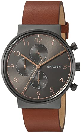 128cfd63a Skagen Men's Ancher Quartz Stainless Steel and Leather Chronograph Watch,  Color: Grey, Brown