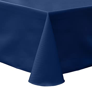 Ultimate Textile Cotton Blend   Twill 52 X 70 Inch Oval Tablecloth Navy Blue