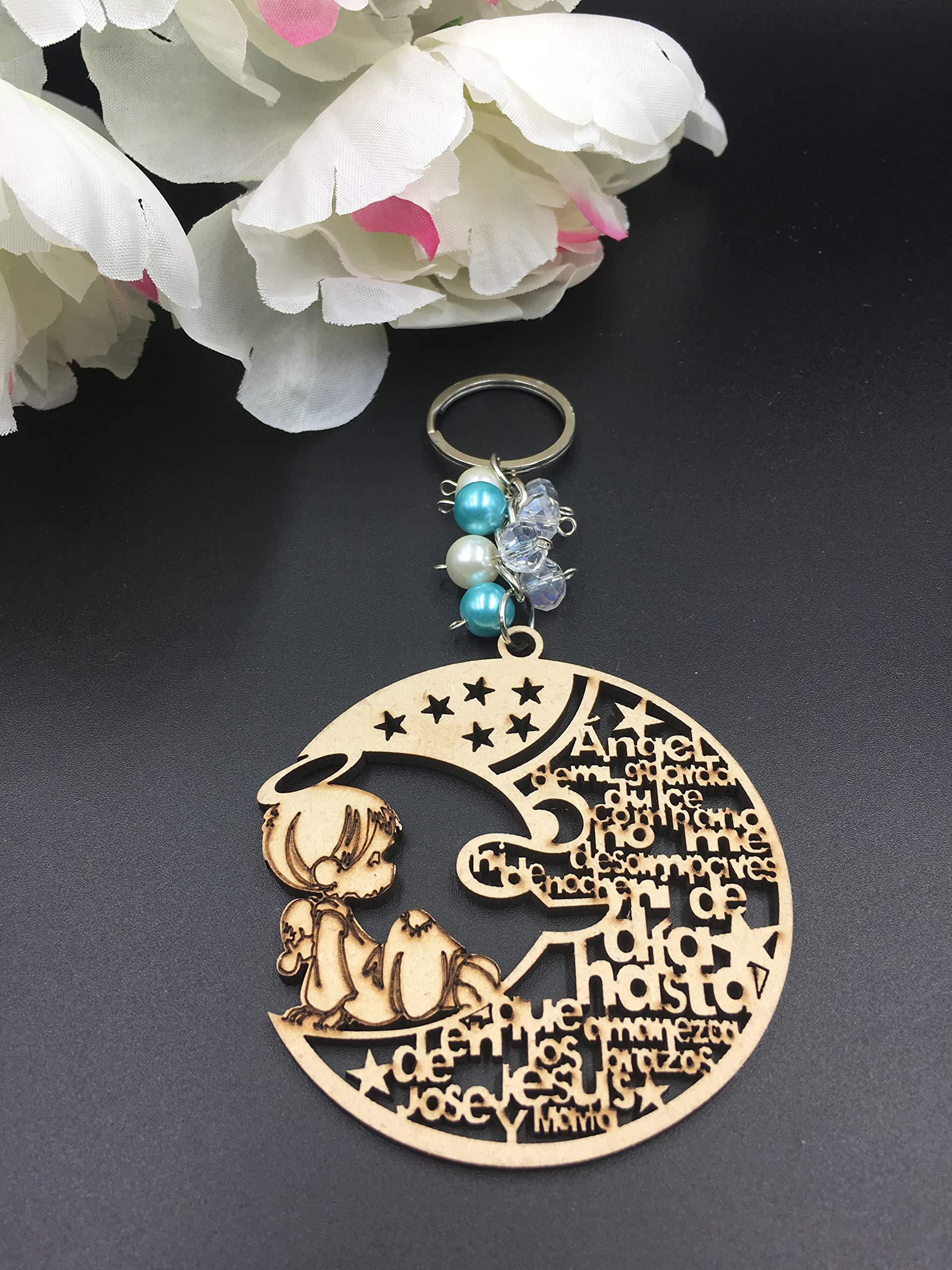 Amazon.com: 12Pcs Baptism Blue Boy Wood Design Keychain