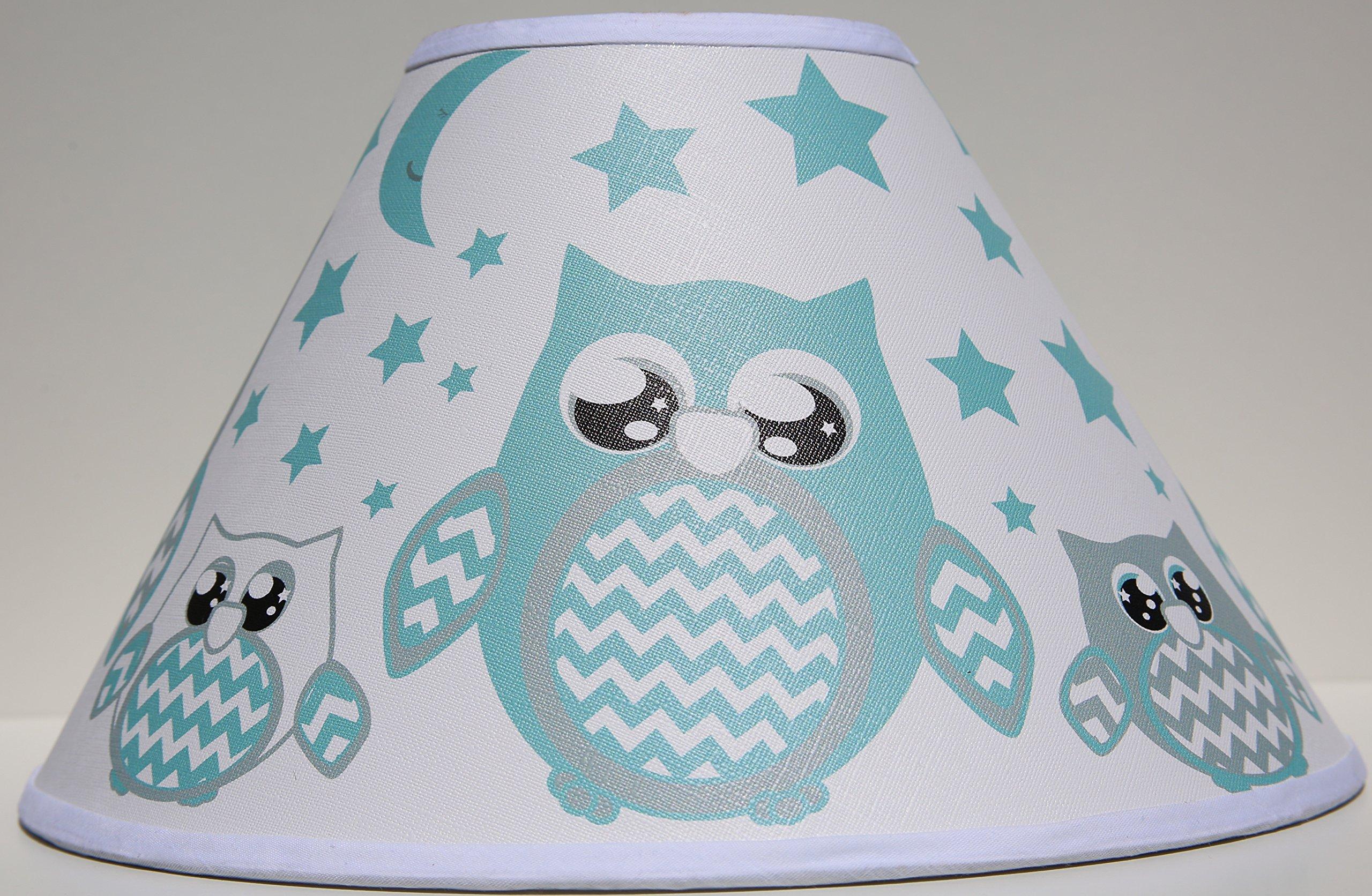 Seafoam Green Owl Lamp Shade/Green Woodland Forest Animal Nursery Decor