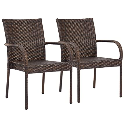 Pleasant Best Choice Products Patio Outdoor Wicker Set Of 2 Stackable Dining Chairs Brown Squirreltailoven Fun Painted Chair Ideas Images Squirreltailovenorg