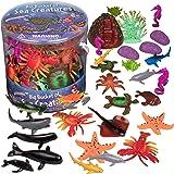 SCS Direct Ocean Sea Creature Action Figures - 30 Pieces, 18 Unique Sculpts- Giant Ocean Animal Toys Playset