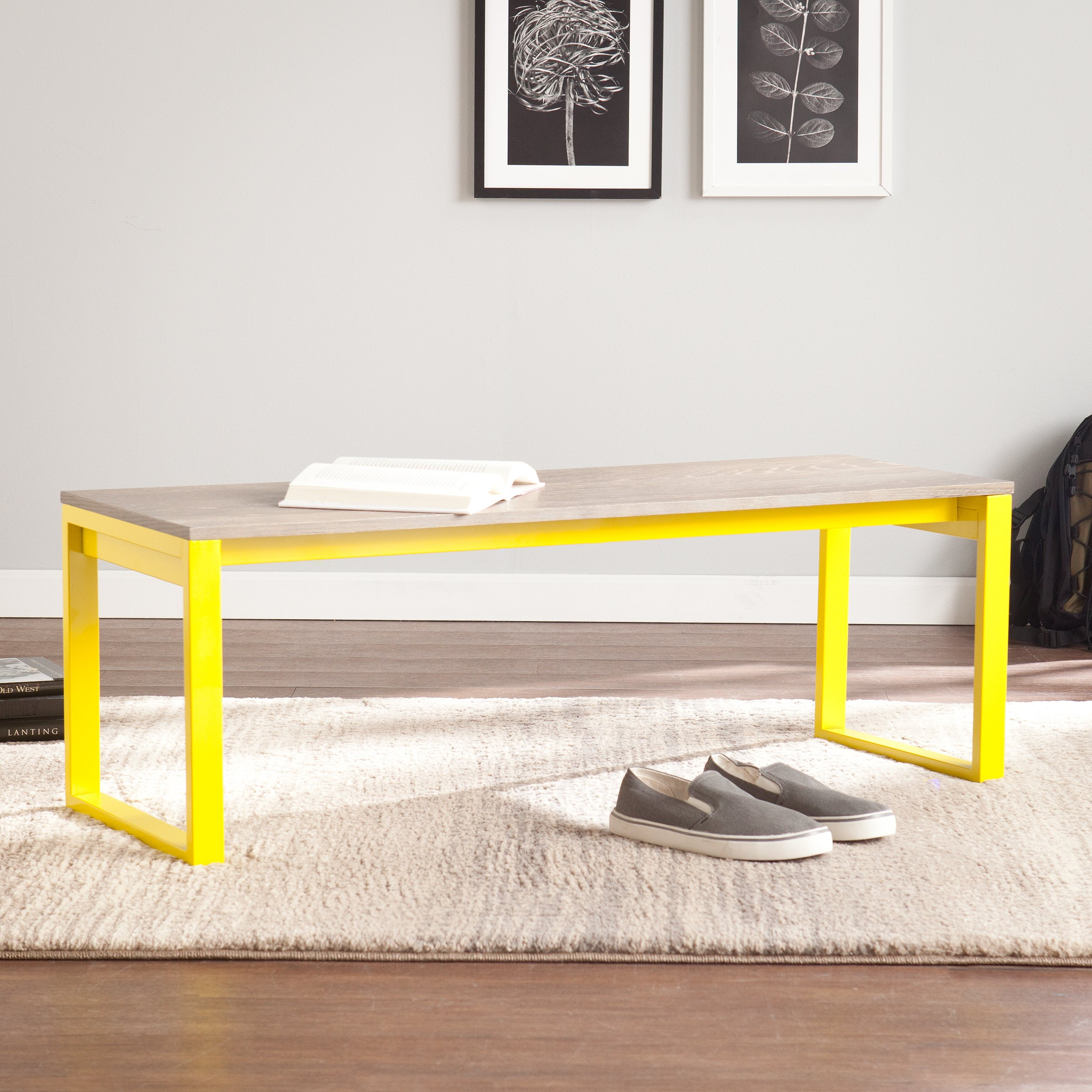 Beckett Burnt Oak Seat Bench - Citrine Frame Finish - Low Profile Design by Southern Enterprises
