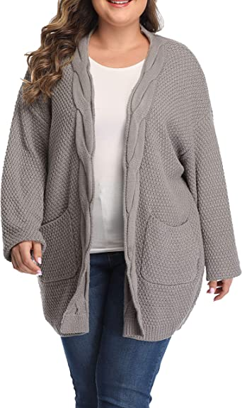Womens Open Front Knit Waterfall Cardigan Top Ladies Cardigan Jacket Plus Size