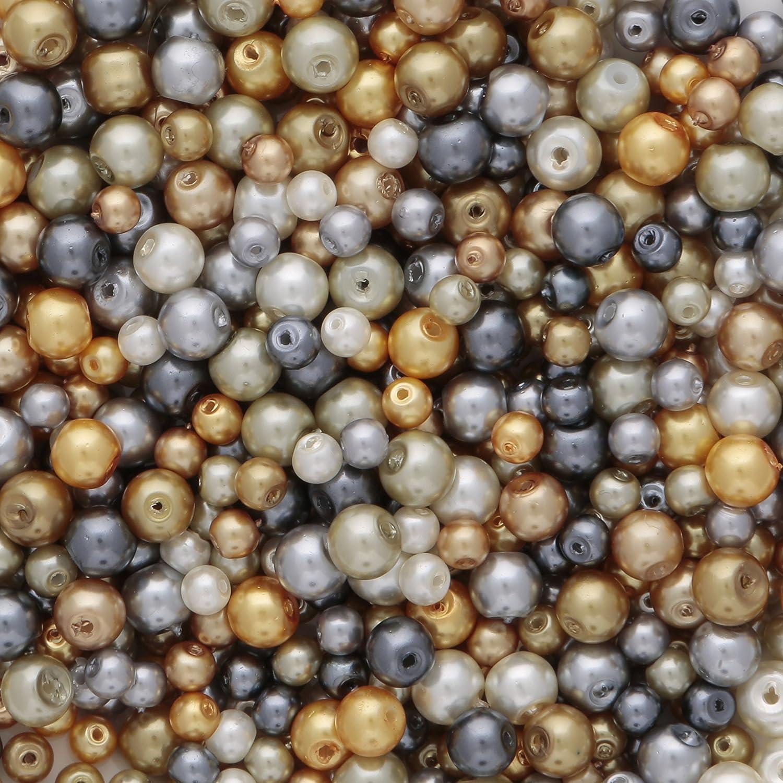 Cristal de color perla en dorado y plateado colores 4 mm y 6 mm varios colores aprox. 700 pcs