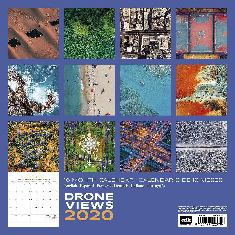 30 x 30 cm Erik Calendrier Mural 2020 Drone Views