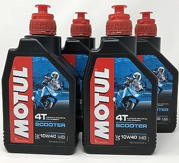 MOTUL Aceite Moto Mineral 4 Tiempos Scooter 4T 10W-40, 4 ...