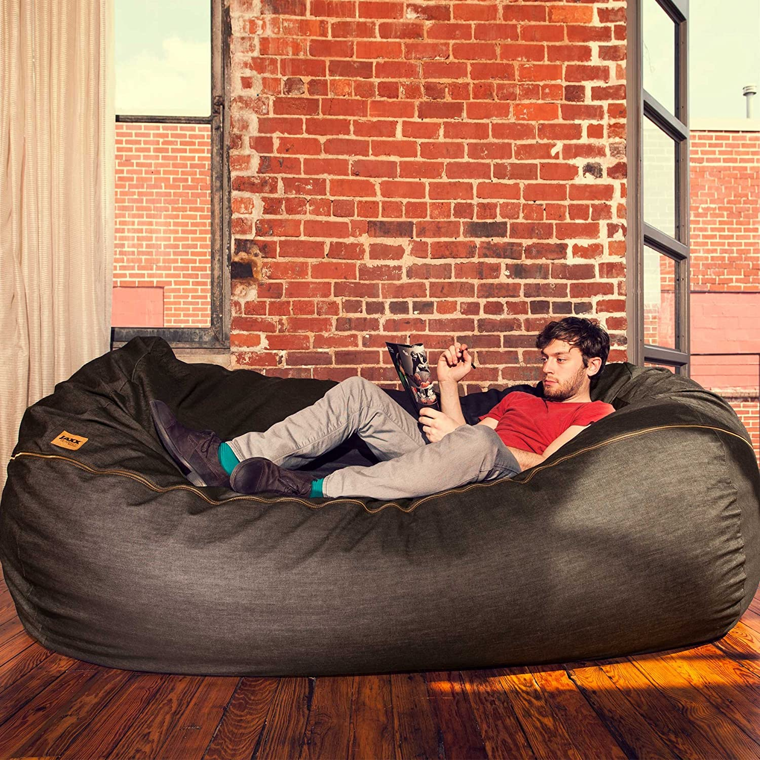 Amazon Jaxx 7 ft Giant Bean Bag Sofa Black Denim Kitchen