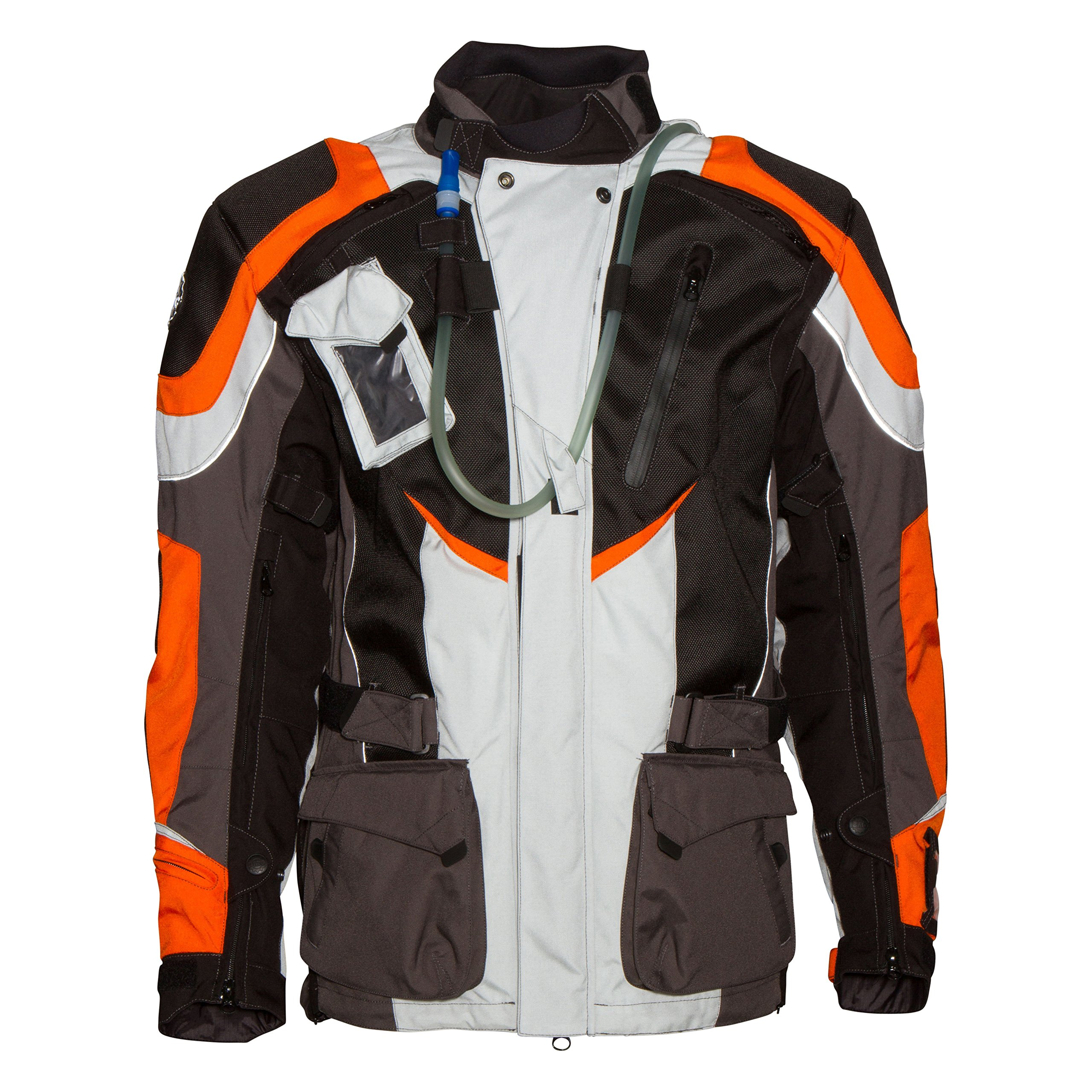 Adventure Motorcycle Jacket (4XLarge, Orange/White)