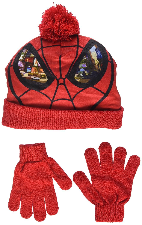 Marvel Ultimate Spider-Man Childrens Boys Mask Winter Hat and Gloves Set