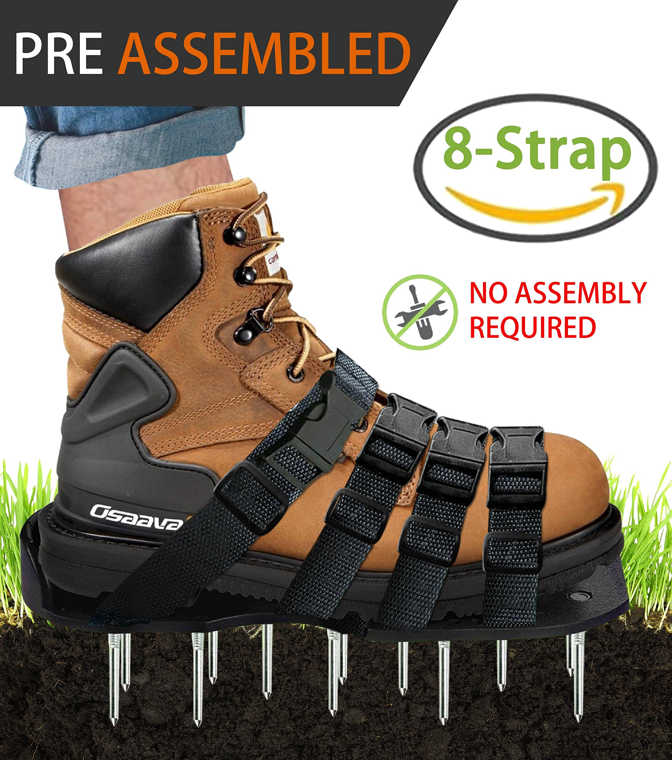 Osaava 47921 Lawn Aerator Shoes, Full ASSEMBLED Spiked Aerating Lawn Sandals With Adjustable 4 straps for Aerating Your Lawn Greener and Healthier Garden or Yard - Sturdy Universal Size that Fits all