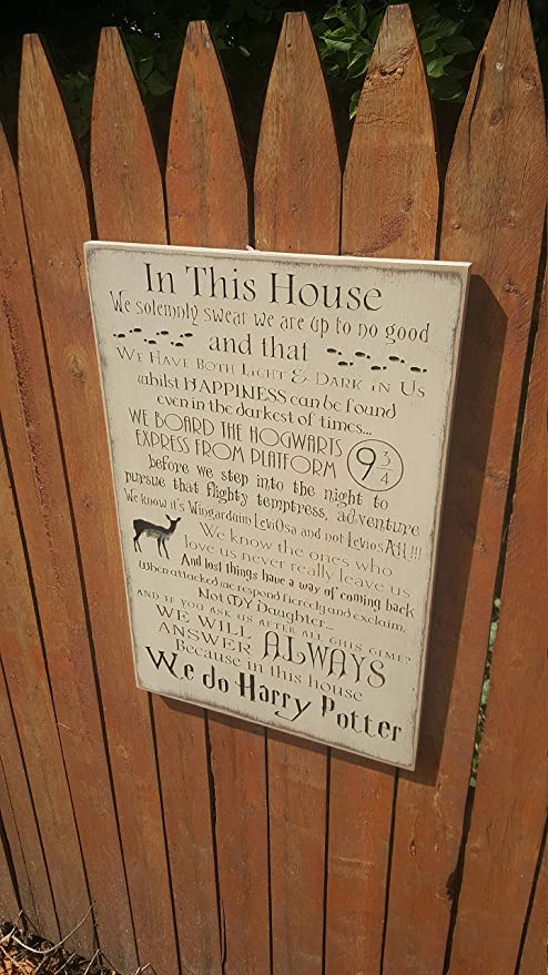 /'In this house.. we do Harry Potter/' Wooden MDF Long Quote Sign Wood Craft Gift