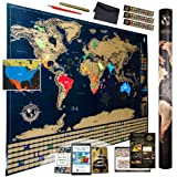 Ultimate Scratch Off World Map With Glossy Finish, Flags, Infographics, 4 Premium Tools and 3 E-books > Top Quality Wall Large World Map Poster To Share Your Adventures and Get Inspired For Travels