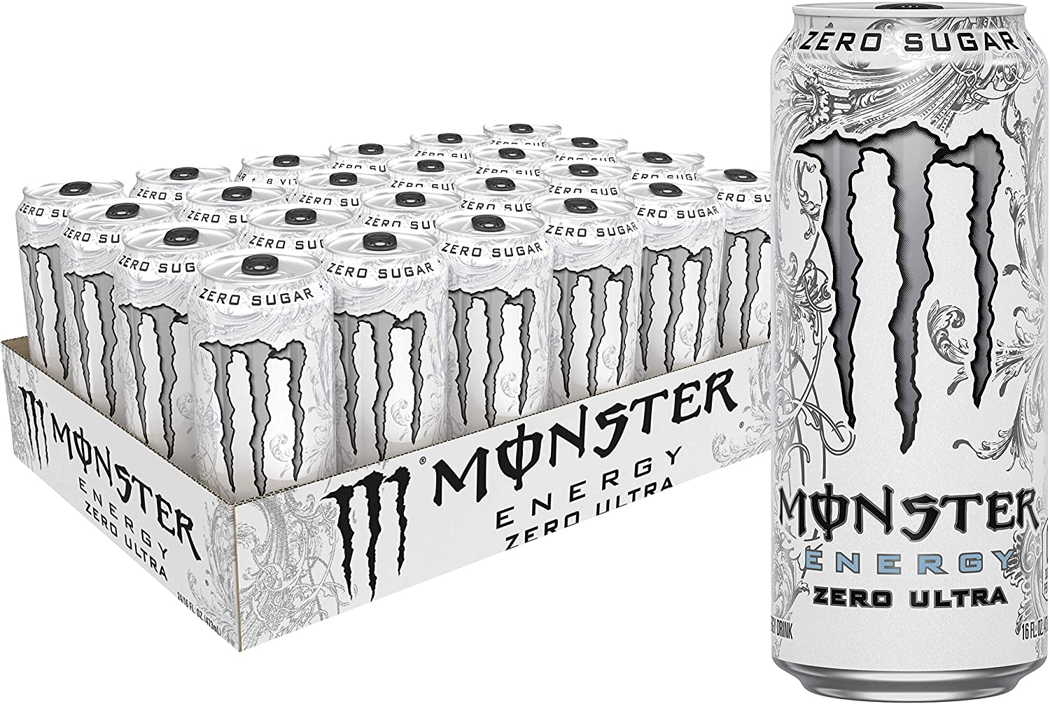 Monster Energy Zero Ultra Sugar Free Energy Drink 16 Ounce Pack Of 24 Amazon Com Grocery Gourmet Food