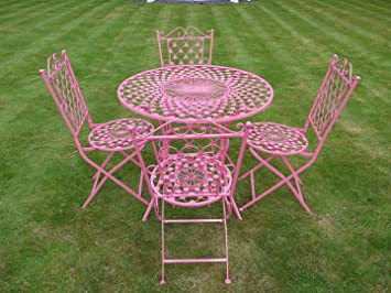 Etonnant Wrought Iron 5 Piece PINK Bistro Style Garden Patio Furniture Set