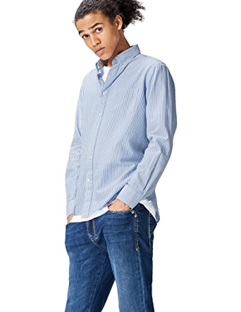 d7ef23aa0 FIND Jake Bengal Shirt for Men - Blue (PRO002005B170217 - S): Amazon.ae