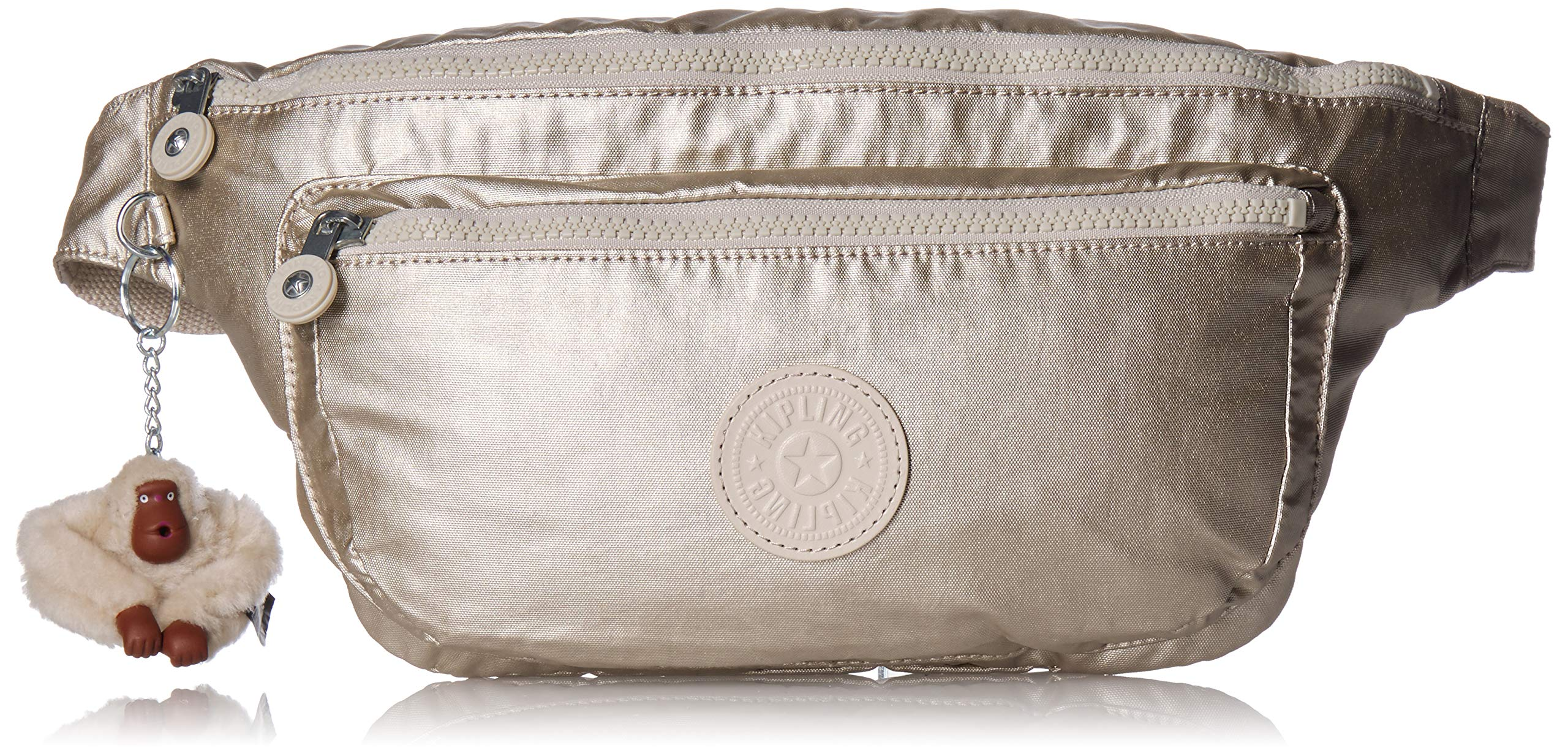Kipling Yasemina XL Waistpack, Adjustable, Multipocket, Zip Closure, cloud Grey/Metallic by Kipling