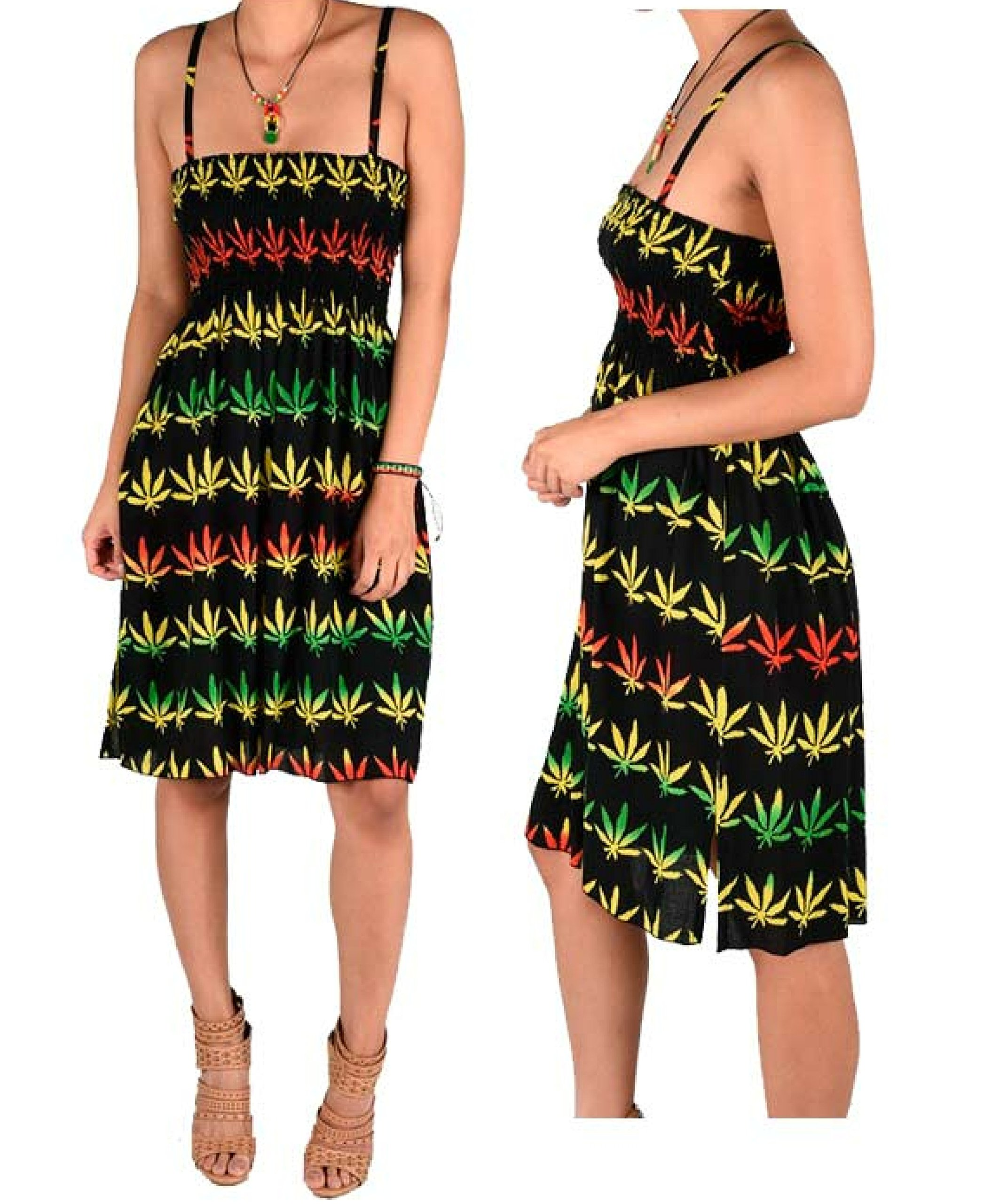Marijuana Leaf Skirt Dress Rasta Dreadlocks Beach Cannabis Weed Blunt Pleated Dress 1 Size Fit Most