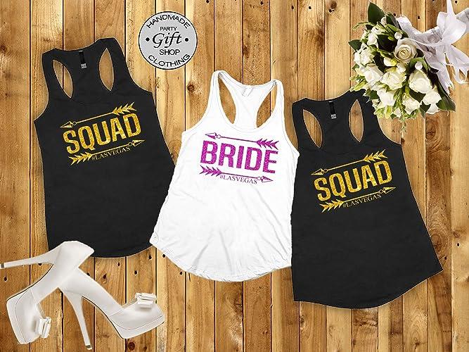 Bridesmaids Shirts For Bachelorette Party   Amazon Com Bride Squad Bridesmaids Shirt Bachelorette Party Shirt