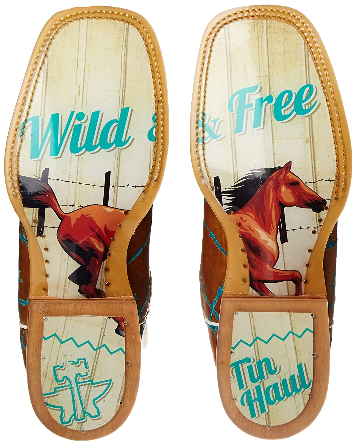 Tin Haul Shoes Boot Women's Barb'd Wire Western Boot Shoes B00WHUMHXY 8.5 B(M) US Tan & Turquoise 88ef90