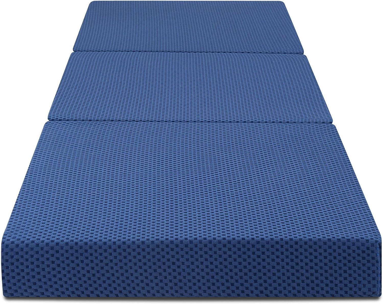 Olee Sleep Tri-Folding Memory Foam Topper 4/'/' H Blue Rectangle 75x25x4
