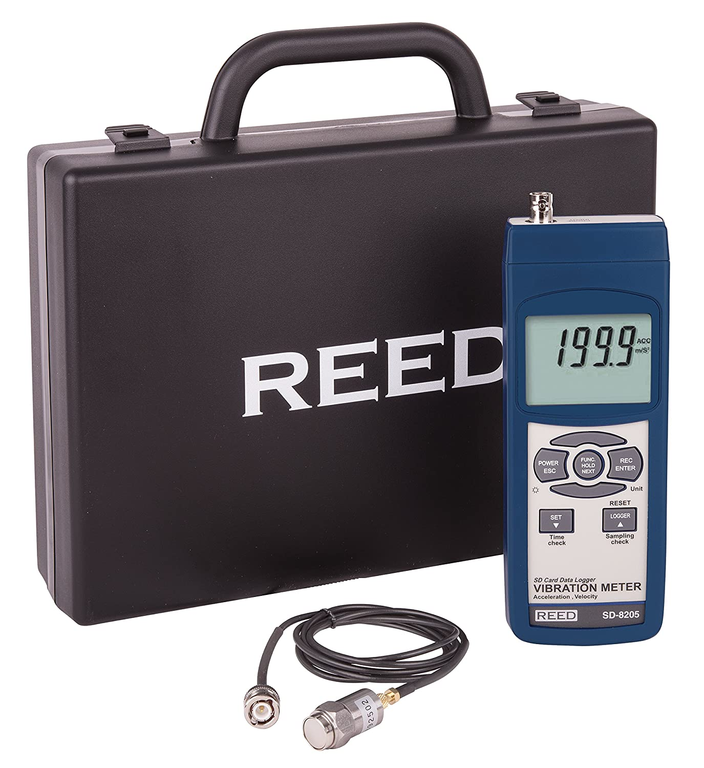 0.5 to 199.9 mm//s Velocity Range 0.1 mm//s Resolution Plus //-5 Percent Accuracy Reed SD-8205 Vibration Meter and Data Logger